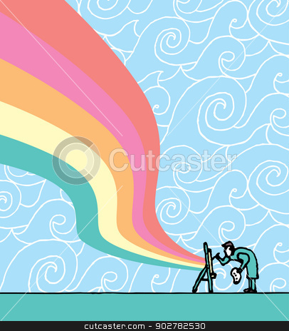 Artist painting stock vector clipart, Artist painting by Curvabezier