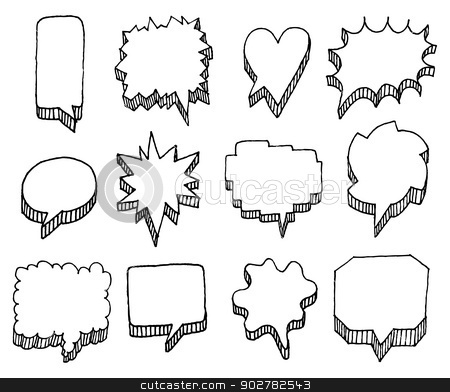 Set of vector speech bubbles with volume stock vector clipart, Set of vector speech bubbles with volume by Curvabezier