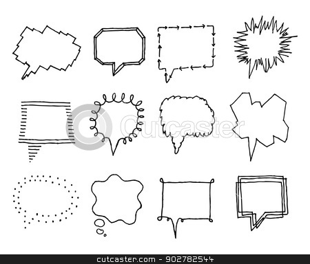 Set of speech bubbles with personality 2 stock vector clipart, Set of speech bubbles with personality 2 by Curvabezier