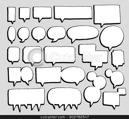 Vector speech bubbles set stock vector clipart, Vector speech bubbles set by Curvabezier