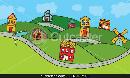 Houses in the country stock vector clipart, Houses in the country by Curvabezier