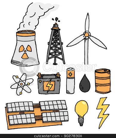 Energy vector icon set / Alternative power generation stock vector clipart, Energy vector icon set / Alternative power generation by Curvabezier