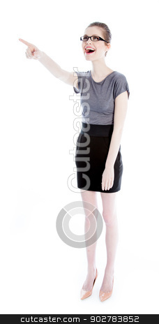 Attractive caucasian girl in her 30 shot in studio stock photo, Attractive caucasian business woman in her 30 isolated on a white background by Bruno Monteny