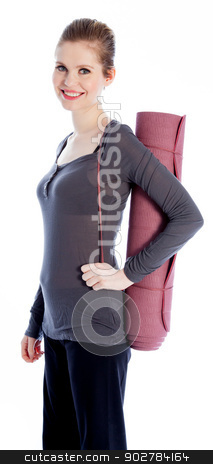 Attractive caucasian girl in her 30 shot in studio stock photo, Attractive caucasian woman wearing a sport outfit in her 30 isolated on a white background by Bruno Monteny