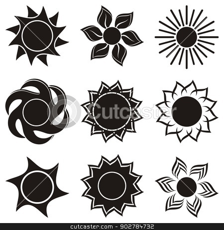 Abstract Icons Of Sun Stock Vector