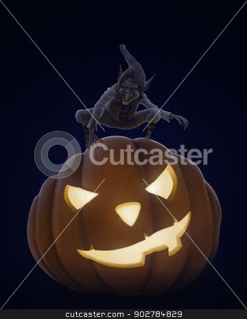 Halloween creepy night stock photo, Creepy chreature on the halloween pumpkin lantern by Giordano Aita