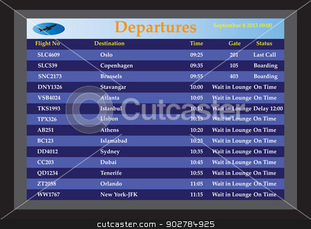 Airport Departures stock vector clipart, An Airport Departures monitor showing flight times flight status and destinations by d40xboy