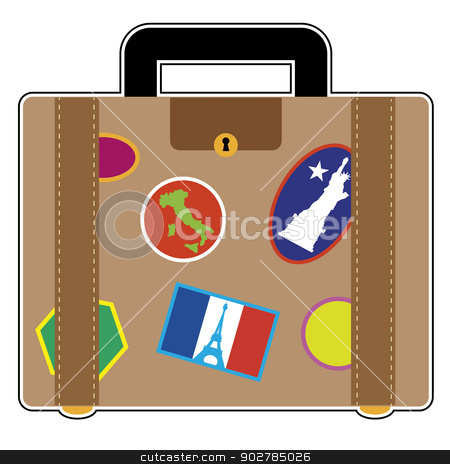 Travel Suitcase stock vector clipart, A suitcase covered in stickers from France, Italy and the United States by Maria Bell