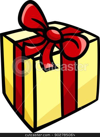 christmas or birthday gift clip art stock vector clipart, Cartoon Illustration of Christmas or Birthday Present or Gift Object Clip Art by Igor Zakowski