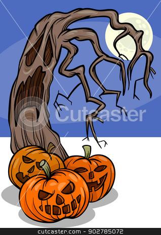 halloween pumpkins with tree cartoon stock vector clipart, Cartoon Illustration of Halloween Pumpkins with Spooky Tree by Igor Zakowski