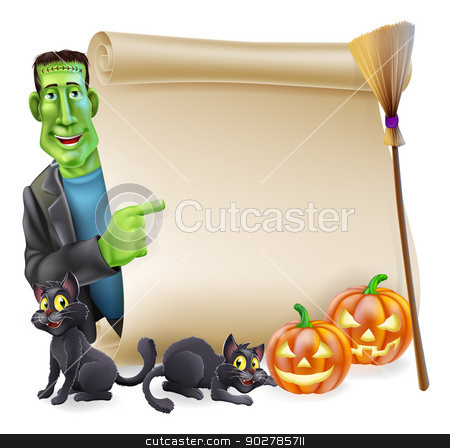 Halloween Scroll with Frankenstein stock vector clipart, Halloween scroll or banner sign with orange carved Halloween pumpkins and black witch's cats, witch's broom stick and cartoon Frankenstein monster character by Christos Georghiou