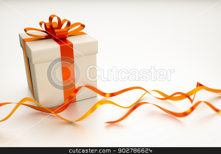 gift box with red ribbon stock photo, A gift box with red ribbon on a white background with space for your content by Markus Gann