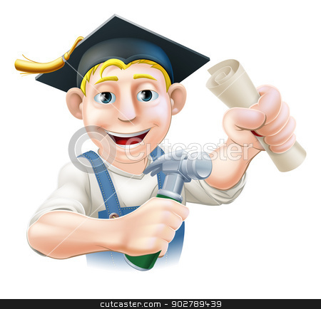 Qualified carpenter stock vector clipart, Professional training or learning or being qualified concept. Carpenter with mortar board graduate cap and diploma certificate or other qualification. by Christos Georghiou