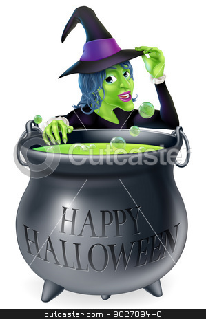 Happy Halloween Witch and Cauldron stock vector clipart, A cartoon witch looking over her bubbling cauldron with a Happy Halloween written on it and tipping her hat  by Christos Georghiou