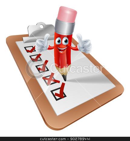 Cartoon Pencil Man and Survey Clipboard stock vector clipart, An illustration of a cartoon pencil character writing on a survey clipboard by Christos Georghiou