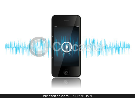 SmartPhone Music Sound Wave stock vector clipart, This image is a vector file representing a smartphone music player. by Bagiuiani Kostas