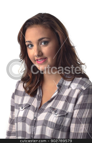Woman Portrait On White stock photo, Young woman smiling in front of a white background. by Henrik Lehnerer
