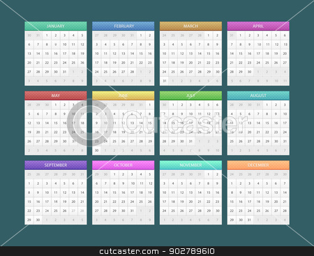 Calendar for 2014 stock vector clipart, Vector illustration of Calendar for 2014 by SonneOn