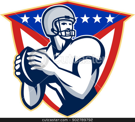American Football Quarterback Throw Ball stock vector clipart, Illustration of an american football gridiron quarterback player throwing ball facing side set inside crest shield with stars and stripes flag done in retro style. by patrimonio