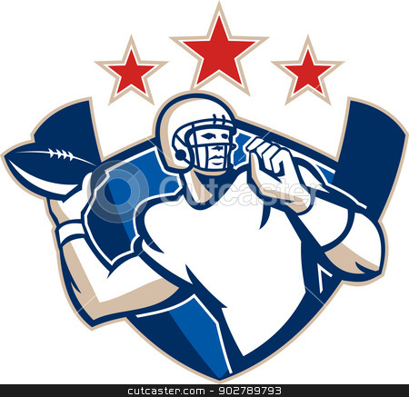 Gridiron Football Quarterback Throw Ball stock vector clipart, Illustration of an american football gridiron quarterback player throwing ball facing side set inside crest shield with stars and stripes flag done in retro style. by patrimonio