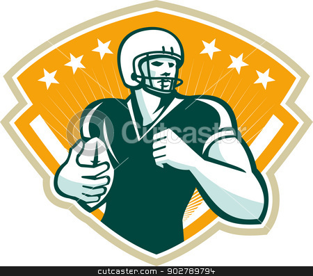 American Football Runningback Crest stock vector clipart, Illustration of an american football gridiron runningback player running with ball set inside crest shield done in retro style. by patrimonio