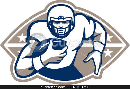 American Football Runningback  Star Front stock vector clipart, Illustration of an american football gridiron runningback player running with ball facing front done in retro style. by patrimonio