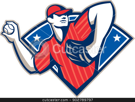Baseball Pitcher Throwing Ball Retro stock vector clipart, Illustration of a american baseball player pitcher outfielder throwing ball isolated on white background. by patrimonio