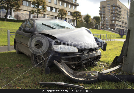 accident stock photo, car collision with a pillar lighting by mrivserg