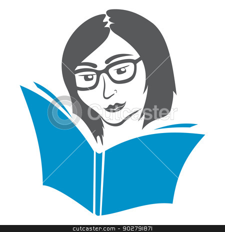 Education symbol stock vector clipart, Illustration of women in glasses reading book by Oxygen64