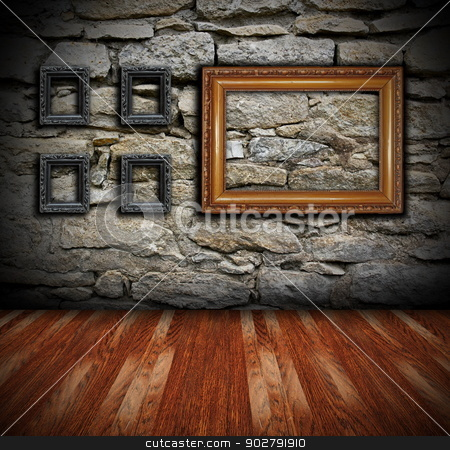 interior backdrop with painting frames stock photo, architectural interior backdrop with wooden floor and painting frames on grungy wall  by coroiu octavian