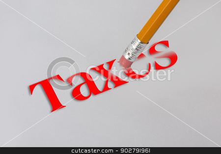 Erase Taxes. stock photo, Yellow pencil erasing taxes on white paper. by WScott