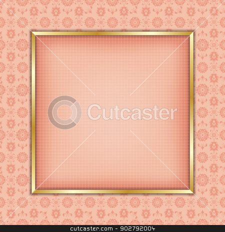 Decorative frame ornament stock vector clipart, Decorative gold  frame for text or photography by Richard Laschon