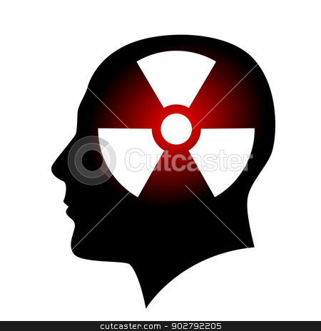 Human face with radiation sign stock photo, Human face with radiation sign. Illustration on white background by dvarg