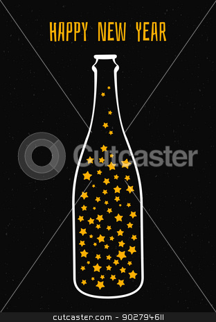 Champagne with the stars stock vector clipart, Vector illustration of champagne with the stars by SonneOn