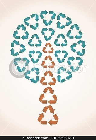 Abstract tree stock vector clipart, abstract tree made of recycle symbols - blue and brown by blumer
