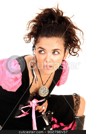 Girl in costume. stock photo, A pretty woman in a black and pink costume looking up for white background.  by Horst Petzold