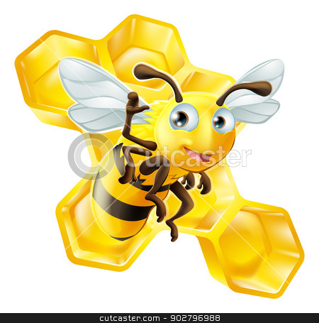 Cute Cartoon Bee and Honeycomb stock vector clipart, A cute cartoon bee mascot waving in front of honey comb by Christos Georghiou