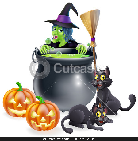 Witch Halloween Scene stock vector clipart, A witch Halloween scene with green witch peeking over a cauldron with broomstick, pumpkins and cats by Christos Georghiou