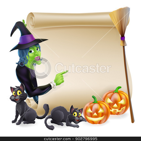 Witch Scroll Halloween Banner stock vector clipart, Halloween scroll or banner sign with orange carved Halloween pumpkins and black witch's cats, witch's broom stick and cartoon witch character by Christos Georghiou