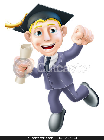 Business graduate stock vector clipart, A man in business suit and graduate mortar board hat holding a scroll diploma or certificate and happily jumping with fist clenched by Christos Georghiou