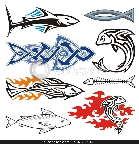 Fish design stock vector clipart, Assorted fish icons isolated on white background. by fractal.gr