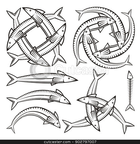 Fish icons stock vector clipart, Single and entwined fish icons isolated on white background. by fractal.gr