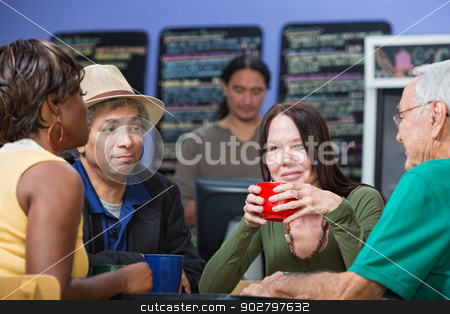 Glad Woman with Friends in Cafe stock photo, Glad Caucasian woman with diverse group in cafe by Scott Griessel