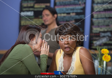Lady Whispering to Friend stock photo, Woman whispering to another in coffee house by Scott Griessel