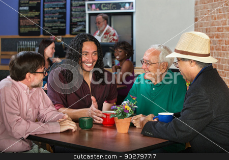 Mixed Group in Cafe stock photo, Mixed group of four adult men in cafe by Scott Griessel