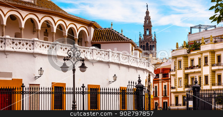 Bull Fight Ring Stadium Cityscape Giralda Spire Bell Tower, Sevi stock photo, Bull Fight Ring Stadium Cityscape Giralda Spire Bell Tower, Seville Cathedral Andalusia Spain by William Perry