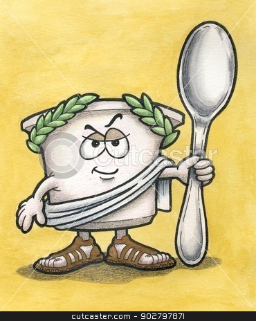 Greek Yogurt Man with Spoon stock photo, Greek Yogurt Cartoon Character holding Spoon by geneploss