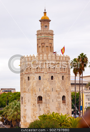 Torre del Oro Old Moorish Watchtower Seville Andalusia Spain stock photo, Torre del Oro Old Moorish Military Watchtower Seville Andalusia Spain.  Built in the 1200s,  One of the oldest buildings in Seville.  Prison in the Middle Ages. by William Perry