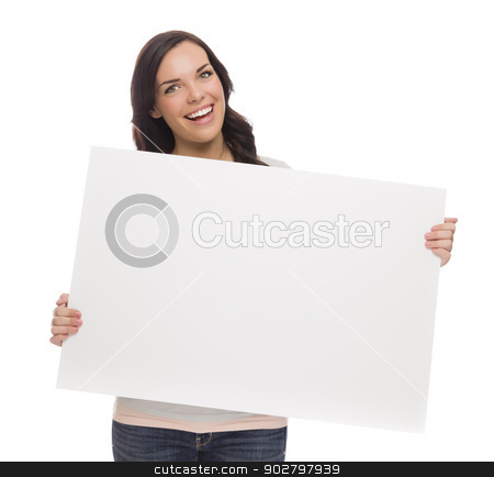 Beautiful Mixed Race Female Holding Blank Sign on White stock photo, Beautiful Mixed Race Female Holding Blank Sign Isolated on a White Background.   by Andy Dean