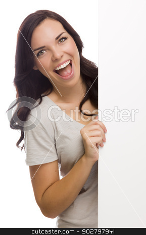 Beautiful Mixed Race Female Holding Blank Sign on White stock photo, Laughing Mixed Race Female Holding Blank Sign  Isolated on a White Background.   by Andy Dean